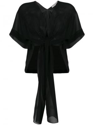 Прозрачная блузка с завязкой спереди D.Exterior. Цвет: черный
