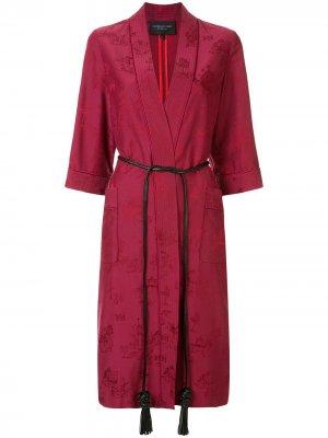 Жаккардовый халат-кимоно Chinoiseries Shanghai Tang. Цвет: красный