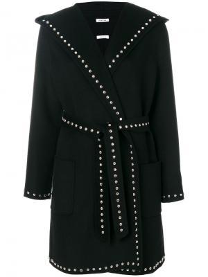 Пальто с поясом и заклепками P.A.R.O.S.H.. Цвет: черный