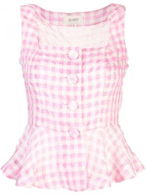 Клетчатая блузка без рукавов Isa Arfen. Цвет: розовый