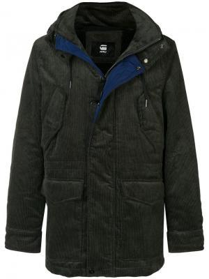 Corduroy parka coat G-Star Raw Research. Цвет: зеленый