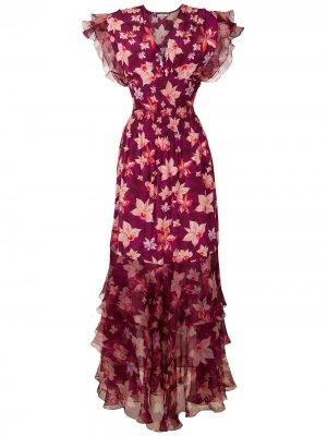 Длинное платье Pri Orquídea с принтом Isolda. Цвет: orquídea f bordô