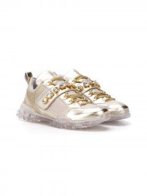 Декорированные кроссовки Monnalisa. Цвет: золотистый