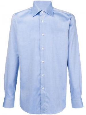 Micro textured shirt Brioni. Цвет: синий