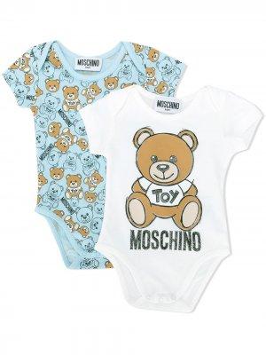 Комплект боди с логотипом Moschino Kids. Цвет: синий