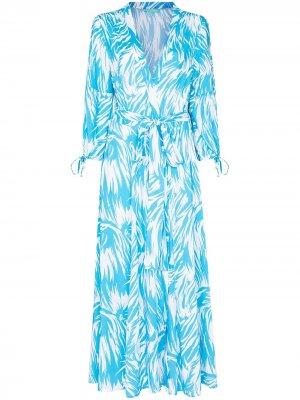 Платье миди Gabby с принтом Melissa Odabash. Цвет: синий