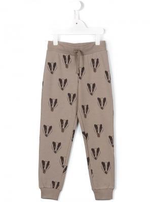 Спортивные штаны с барсуками Mini Rodini. Цвет: серый