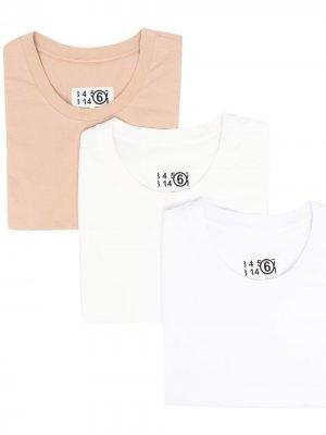 Комплект из трех футболок MM6 Maison Margiela. Цвет: белый