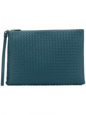 Клатч с плетением intrecciato Billeto Bottega Veneta. Цвет: синий
