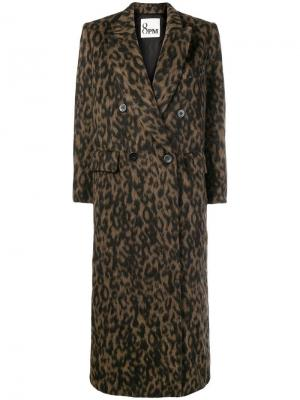 Leopard print double breasted coat 8pm. Цвет: черный
