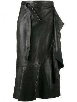 Кожаная юбка с запахом Helmut Lang. Цвет: черный