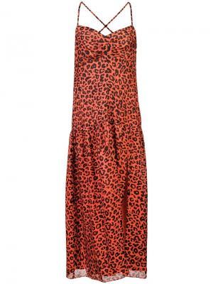 Платье миди с леопардовым принтом Michelle Mason. Цвет: красный
