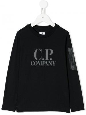 Logo print T-shirt Cp Company Kids. Цвет: синий
