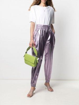Зауженные брюки с эффектом металлик Isabel Marant. Цвет: фиолетовый