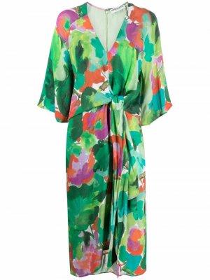 Платье с абстрактным принтом и драпировкой Essentiel Antwerp. Цвет: зеленый