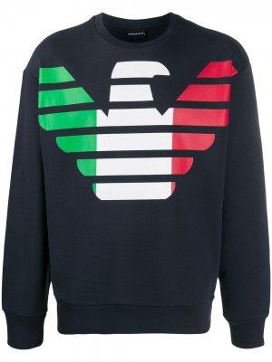 Пуловер с логотипом Emporio Armani. Цвет: синий