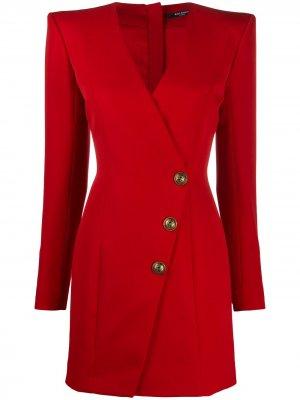Платье мини на пуговицах Balmain. Цвет: красный