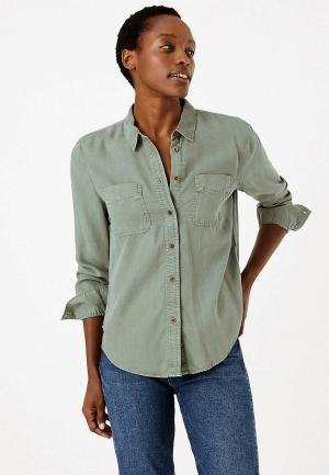 Рубашка Marks & Spencer. Цвет: зеленый