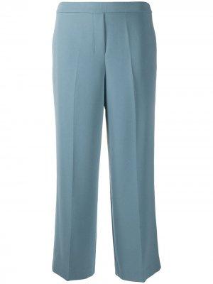 Укороченные брюки широкого кроя со складками Theory. Цвет: синий