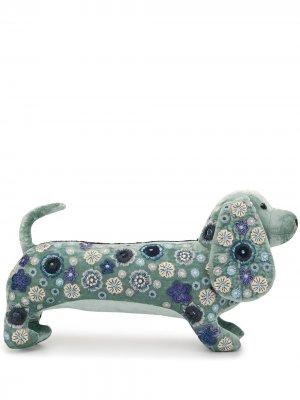 Бархатная игрушка в виде таксы с вышивкой Anke Drechsel. Цвет: синий