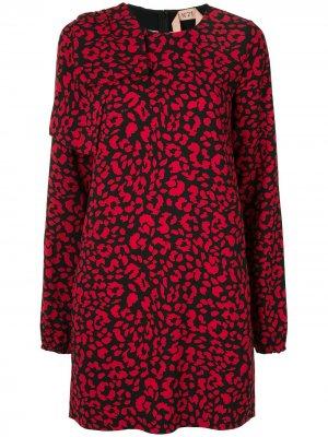 Короткое платье с анималистичным принтом Nº21. Цвет: красный