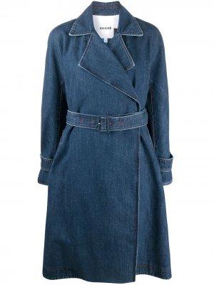 Джинсовое пальто с поясом Koché. Цвет: синий