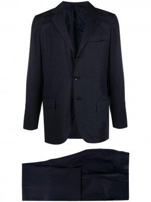 Костюм-двойка с однобортным пиджаком Kiton. Цвет: синий