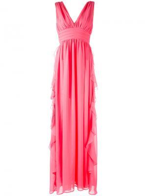 Вечернее платье с V-образным вырезом MSGM. Цвет: розовый