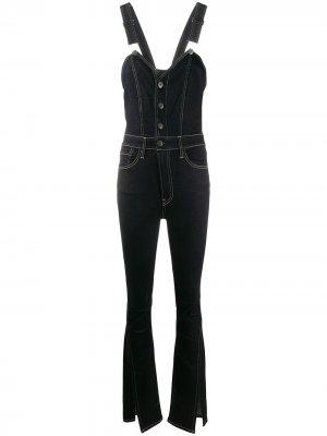 Расклешенный джинсовый комбинезон 3x1. Цвет: черный