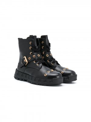 Ботинки с декором Medusa и люверсами Versace Kids. Цвет: черный