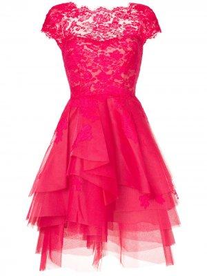 Расклешенное платье с кружевом Monique Lhuillier. Цвет: розовый