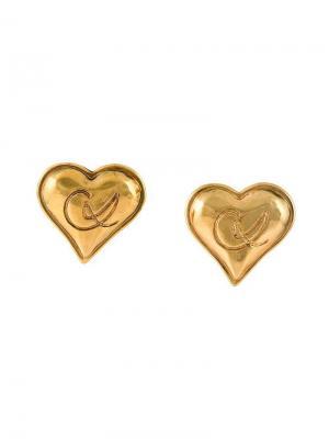 Серьги в форме сердца Christian Lacroix Vintage. Цвет: металлик