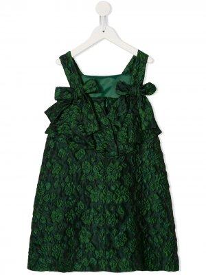 Жаккардовое платье с цветочным узором Oscar De La Renta Kids. Цвет: зеленый