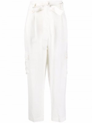 Tie-waist tapered trousers TWINSET. Цвет: белый