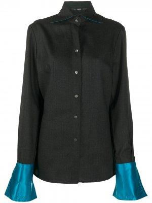 Рубашка 1990-х годов с контрастными манжетами Gianfranco Ferré Pre-Owned. Цвет: серый