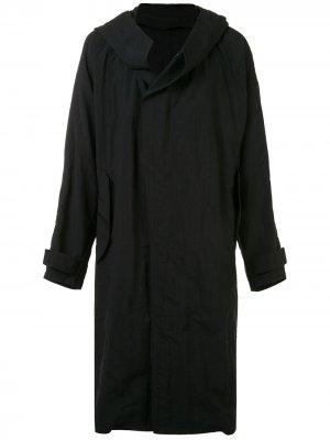 Пальто свободного кроя с капюшоном Julius. Цвет: черный