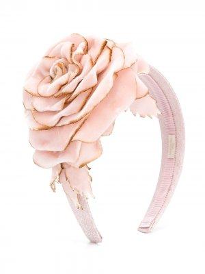 Ободок с цветочной аппликацией Monnalisa. Цвет: розовый