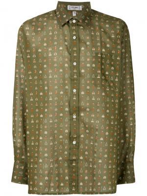 Рубашка с принтом Céline Vintage. Цвет: зеленый