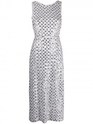 Платье миди с вышивкой пайетками ROTATE. Цвет: белый