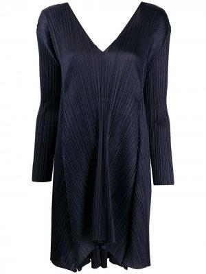 Плиссированное платье-трапеция с длинными рукавами Pleats Please Issey Miyake. Цвет: синий