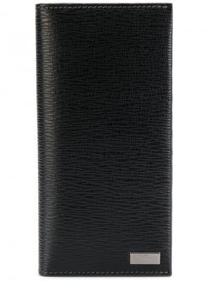 Длинный бумажник Salvatore Ferragamo. Цвет: черный