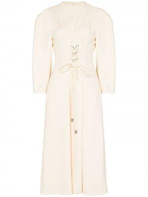 Платье миди с корсетом Tibi. Цвет: нейтральные цвета