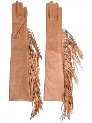 Перчатки с бахромой Manokhi. Цвет: коричневый