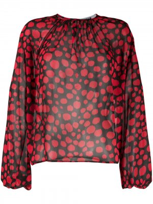 Полупрозрачная блузка с принтом MSGM. Цвет: красный