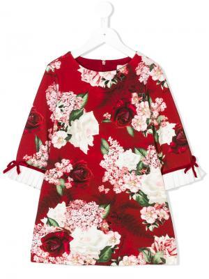 Floral-print shift dress Monnalisa. Цвет: красный