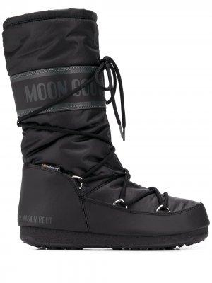 Дутые сапоги на шнуровке Moon Boot. Цвет: черный