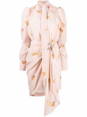 Fish print silk wrap dress LANVIN. Цвет: розовый