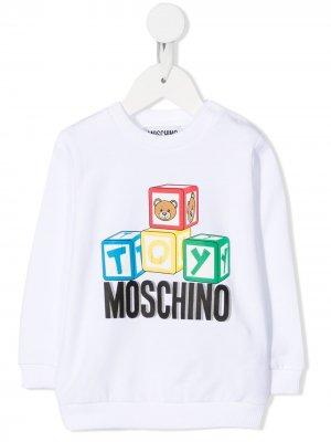 Свитер с принтом Moschino Kids. Цвет: белый