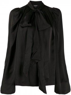 Блузка с объемными рукавами и бантом Rochas. Цвет: черный