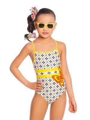 Купальник для девочек слитный Arina. Цвет: синий, белый, желтый